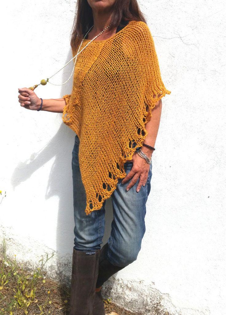 Orange knit ponchoalpaca  poncho sweater knitted orange wrap trend knitwear wool poncho alpaca poncho wool orange wrap womens poncho (45.00 EUR) by EstherTg