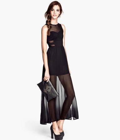 H&M - Vestido largo semi transparente