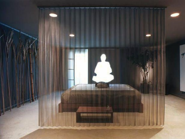 """The Buddha cutout and shoji screens slide together to cover the window completely, or slide apart to become large blank canvases reflecting the 'being"""" and """"nothingness"""" of Zen. Photo by Daniel Furon."""