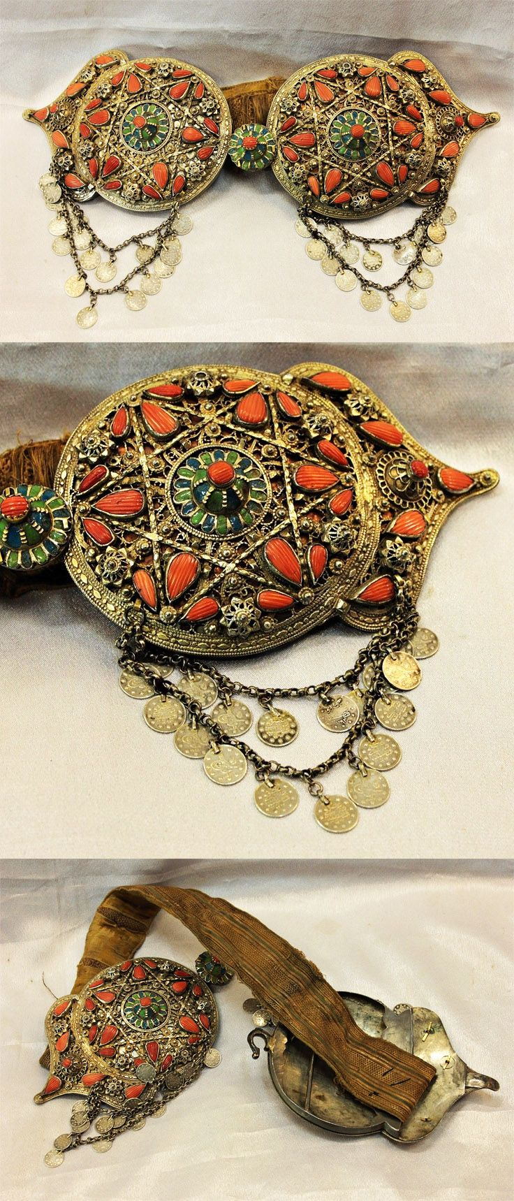 Antique solid silver, gilt, enamel and coral Ottoman belt buckle | 18th century | 10'000$