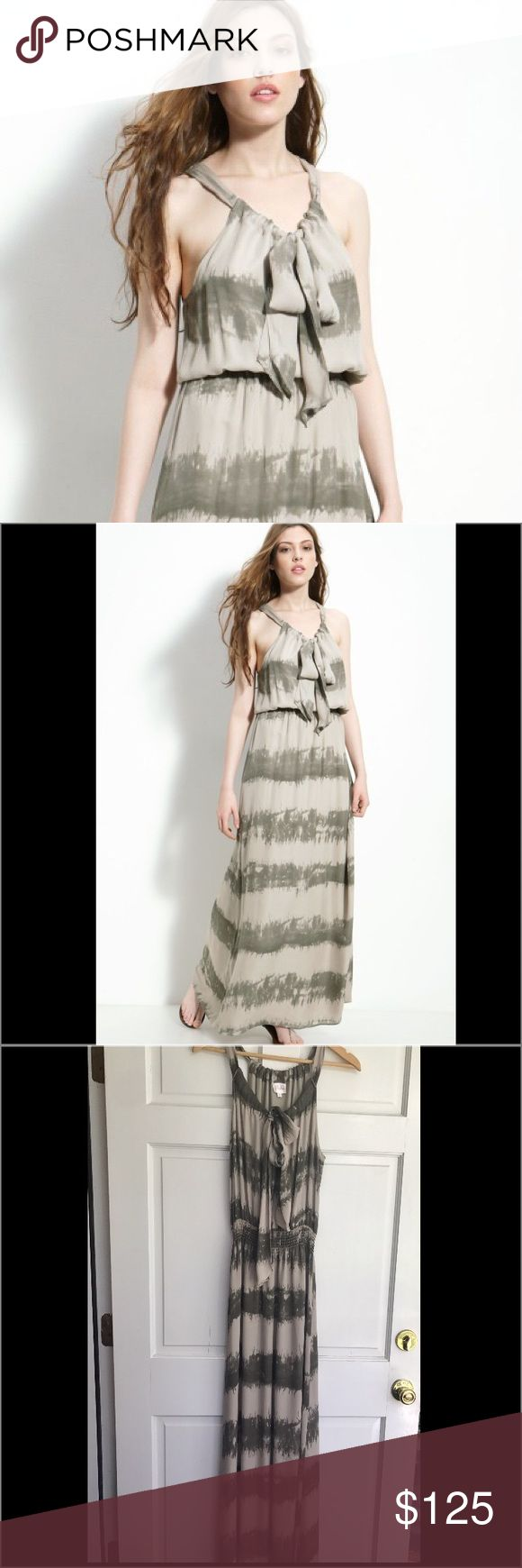 Parker 100% silk georgette maxi dress -L Gorgeous flowing tan & taupe tie Die print Blouson silk maxi dress with a wide very flattering smocked / elasticized waist & adorable key hole with tie front. Originally purchased for 280+ this dress is in Excellent like new condition with zero signs of wear. Parker Dresses Maxi