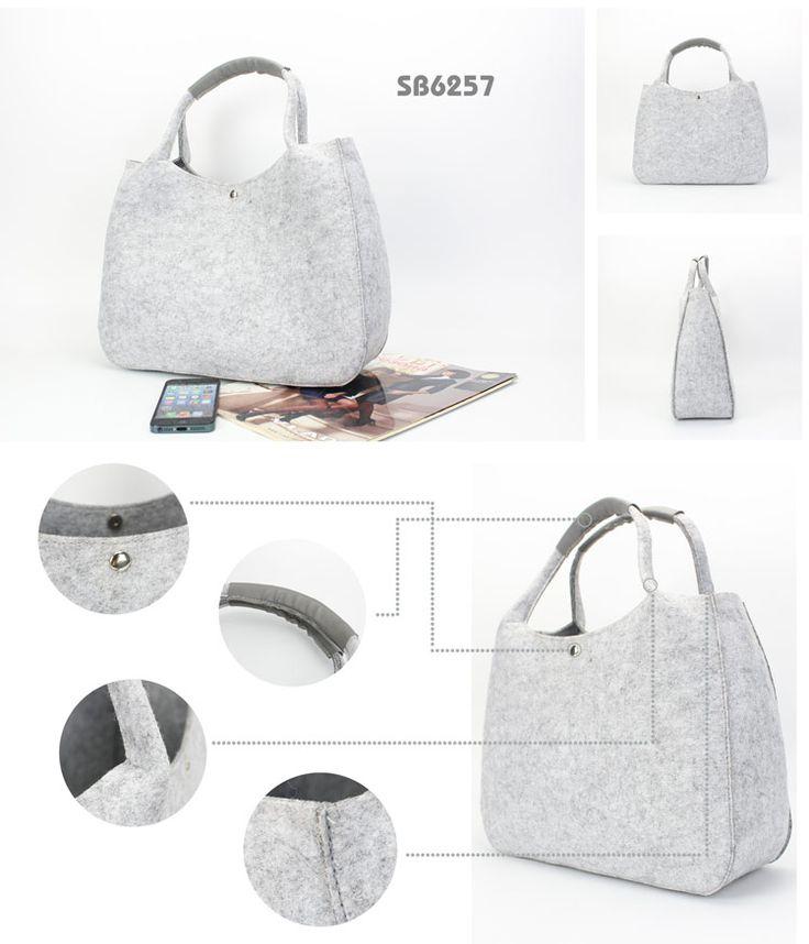 Felt Shopping Bag  Specifications: material: felt+pu size: 33.5*12*26cm portable bag with magnet closure big area for logo printing www.ideagroupigm.com