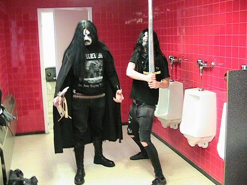 black metal in the men's bathroom