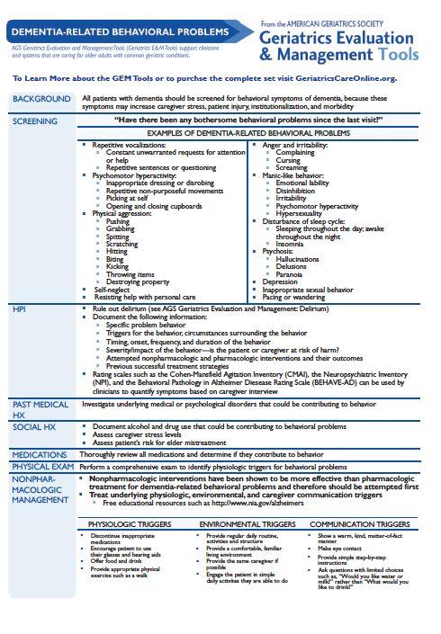 Geriatrics Evaluation and Management Tools: Dementia ...