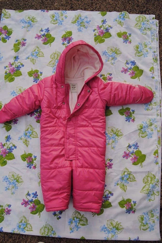 Baby Girl baby snow suit 18-24 months girls pink used/baby girl winter coat #OldNavy #snowsuit