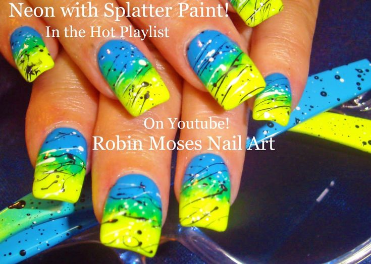 Nail Art Tutorial | DIY EASY SPLATTER PAINT NAILS | Neon Ombre Nail Design