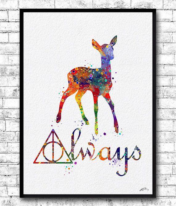 Doe Always Harry Potter Deathly Hallows 5 Watercolor by ArtsPrint