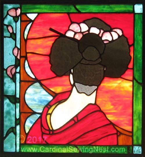 Geisha stained glass panel handmade by Carole Cardinal