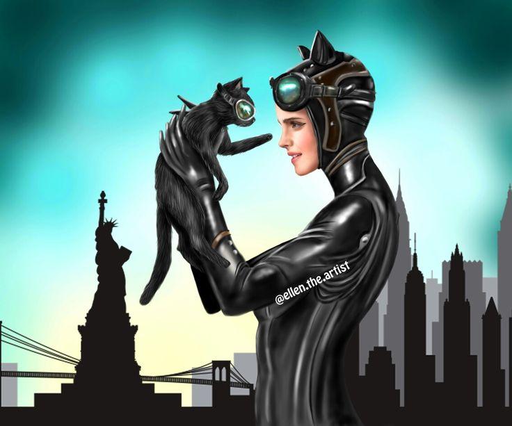 Cat Woman inspired digital art.