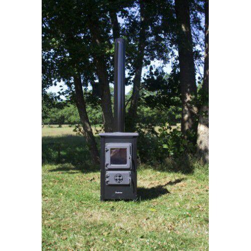Houtkachel MBS Happy 6 kw. Emaillen Specificatie: - Afmetingen: 720x400x400 mm - Afmeting brandkamer: 265x220x300 mm - Vermogen: 6 KW - Gewicht: 51 kg - Rookgasafvoer: 120 mm boven aansluiting - Bovendek en deuren zijn van gietijzer. - Kachel van geëmailleerd staal - Kleur: Zwart,Crème,Rood,Grijs - Houtverbruik: 1,6 kg/uur