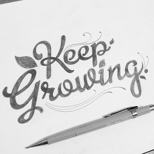 """Hand lettering """"Keep Growing"""" by Thiago Bianchini"""