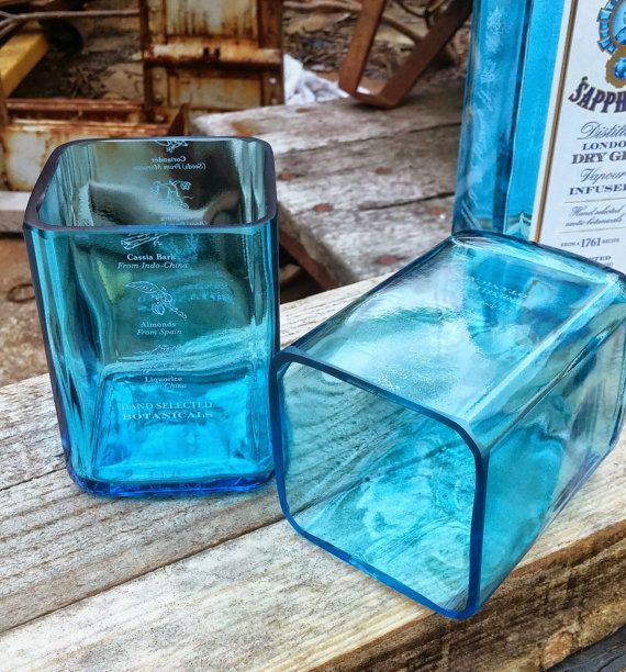 The Bombay Sapphire Blue liquor bottle is the pinnacle of elegance and make amazing rocks glasses. These beautiful drinking glasses were created
