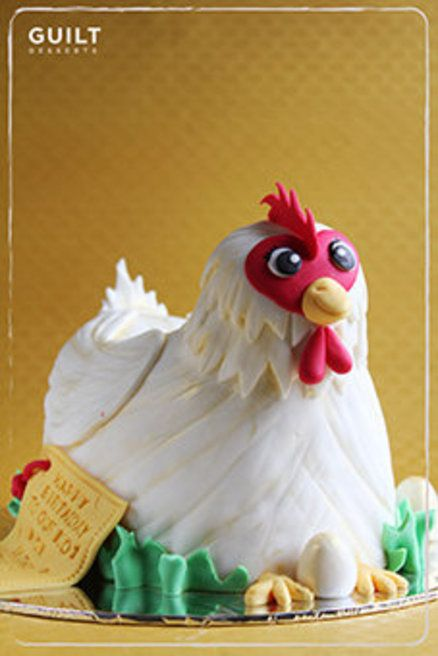 Chicken Birthday Cake Cake by guiltdesserts