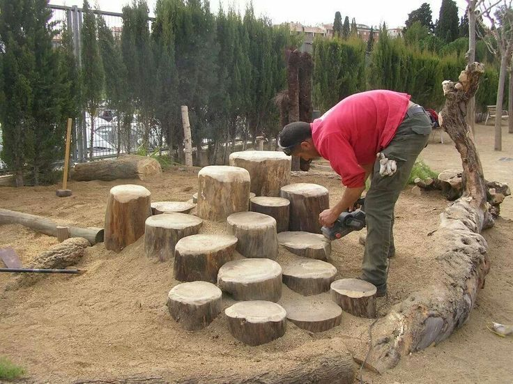 Stepping trees... add a few of these by waterfall for a few flat surfaces to display items - under bird feeder too