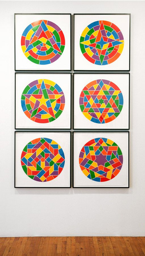 sol lewitt 6 round shapes with colorful geometric patterns