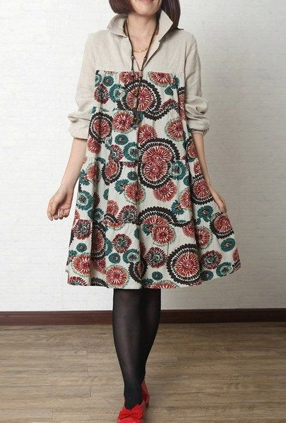 Loose dress/big yards of dress/ cotton and linen dress/ long sleeve dress for…