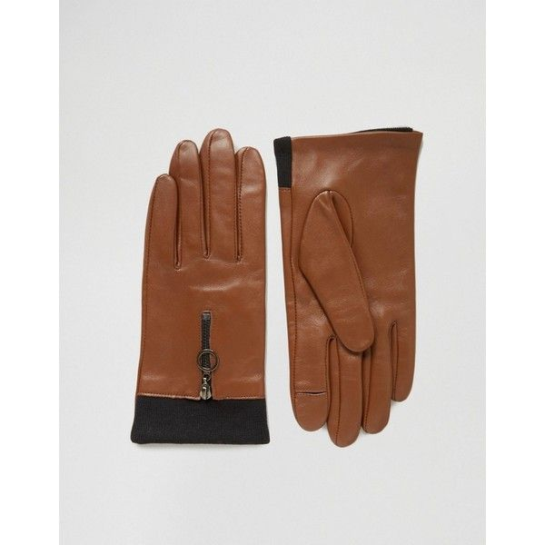 ASOS Leather Gloves With Knit & Circle Zip ($17) ❤ liked on Polyvore featuring accessories, gloves, brown, leather knit gloves, knit gloves, brown leather gloves, asos and brown gloves