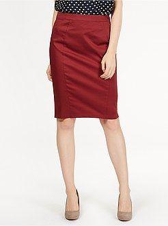 Faldas - Falda de tubo de satén de algodón elástico estampado - Kiabi