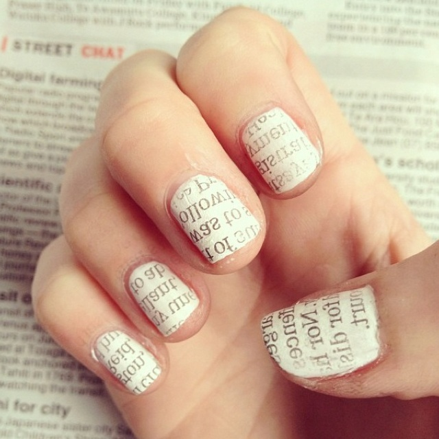 Newspaper Nail Art.