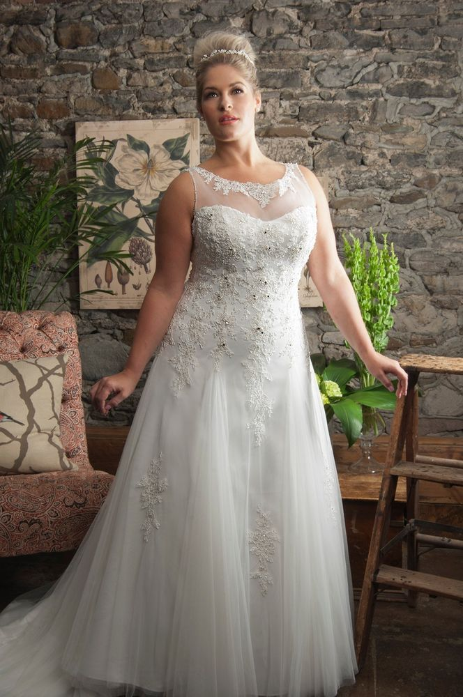 White ivory lace plus size wedding dress bridal gown for Lace wedding dresses plus size