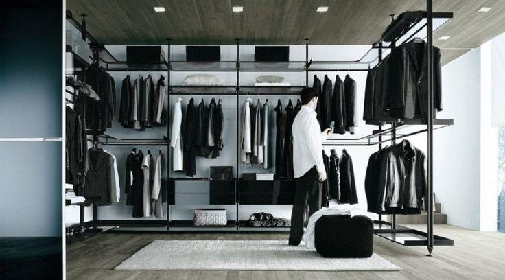 Cabina armadio in alluminio nero - Cabina armadio Zenit di Rimadesio proposta nella composizione angolare con montanti a soffitto e struttura in alluminio nero.