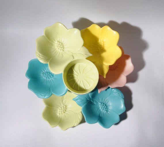 Set 6 portabibite Snack - parti sottobicchieri - colori pastello - fiori plastica 1950
