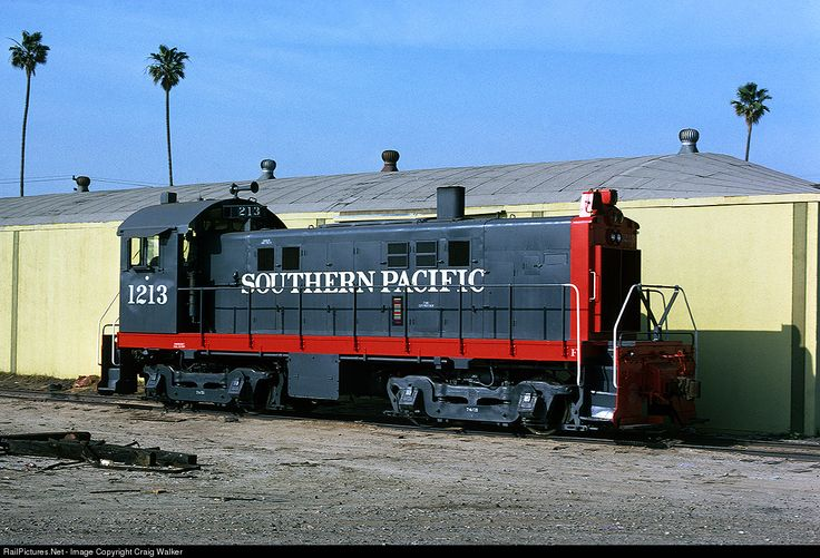 Anaheim Alco / Southern Pacific S6 1213, seen in Anaheim, California, on March 2, 1975, was built by Alco in June 1955 as SP 1046.