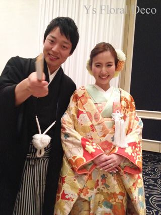 ゴールドイエローの色打掛にあわせる生花ヘッドドレス ys floral deco @ウェスティンホテル東京