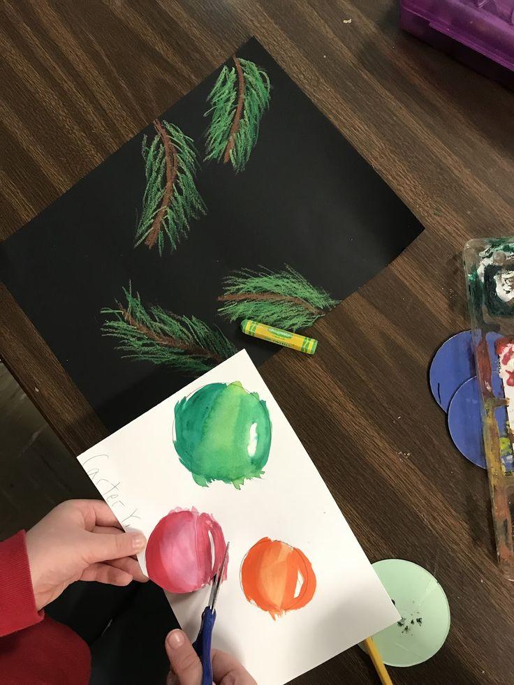 3rd grade Christmas art, 4th grade Christmas art, 5th grade Christmas art, Elementary Christmas art, Christmas ornaments art, winter art, holiday art, elementary holiday art