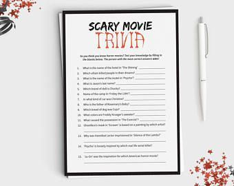 Halloween Game - Scary Movie Trivia - Fun Halloween Party Game for Adults or Teens - Horror Trivia - Instant Download - 5x7 Printable