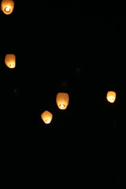 sky lanterns - let one go for Jase's birthday each year