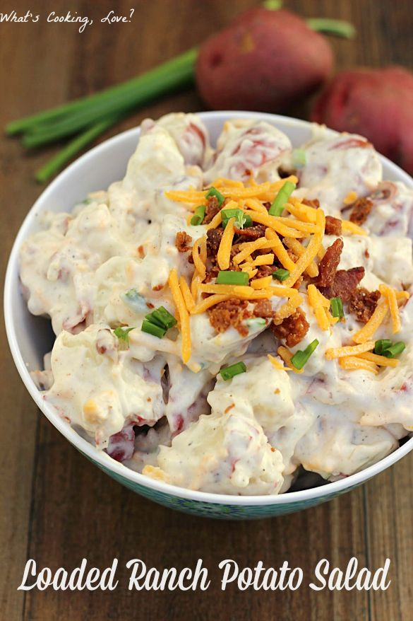 Loaded Ranch Potato Salad. A ranch flavored potato salad with added bacon, cheese, and chives. This is great for any party or barbecue. #sidedish #potatosalad