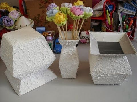 Vaso com caixa de leite - passo a passo - tutorial - diy - artesanato - ...