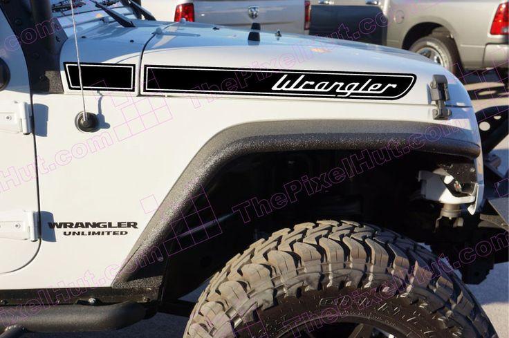 Jeep Wrangler Retro Hood Decals for Wrangler JK Two Color