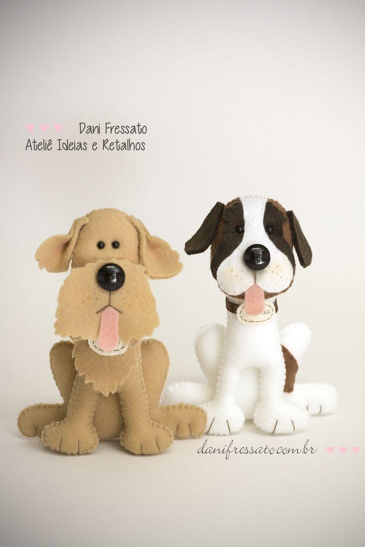 Cachorros de Feltro - Golden Retriever e São Bernardo