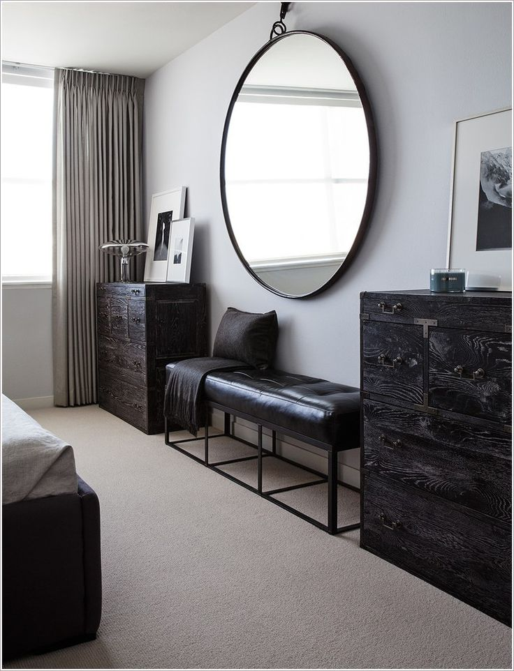 Large Black Framed Round Mirror | Mirror above fireplace ...