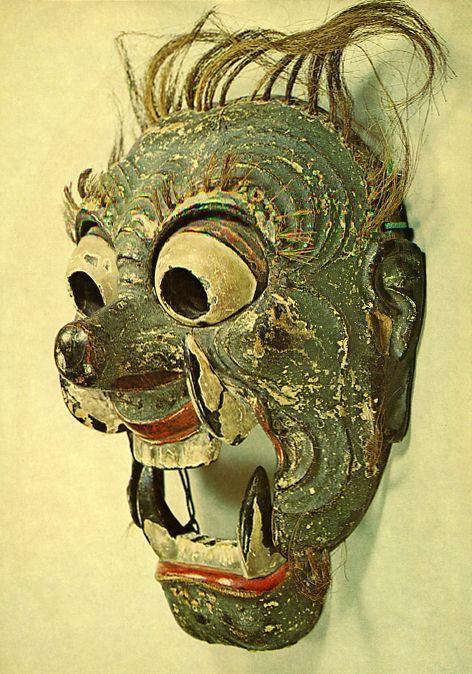 """A mask of Japanese Bugaku. """"Nasori"""". The late 1100s. Heian era / Kamakura era."""