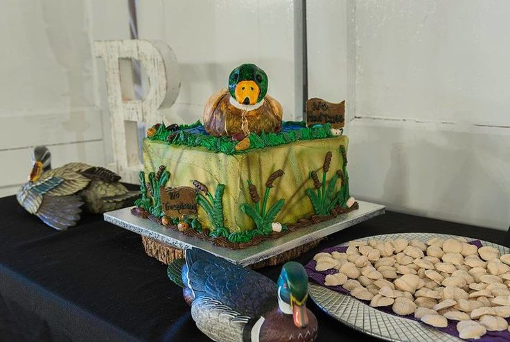 Duck hunting groom's cake   Magical purple barn wedding