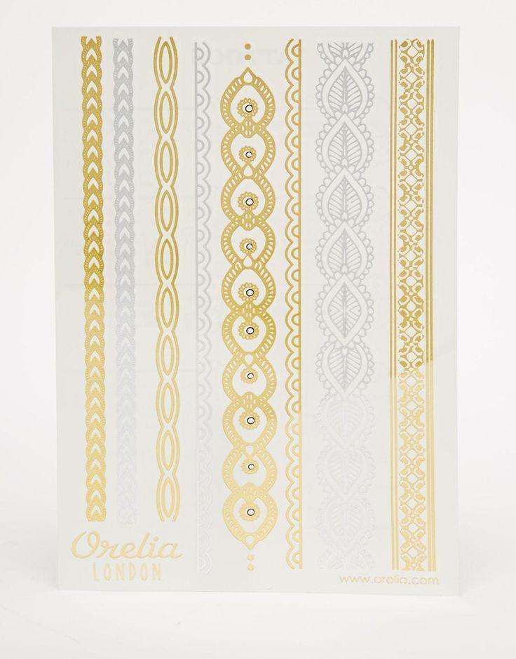 Image 1 ofOrelia Henna Strips Wrist Metallic Temporary Tattoos
