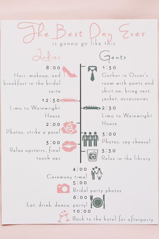 Bridal party schedule.