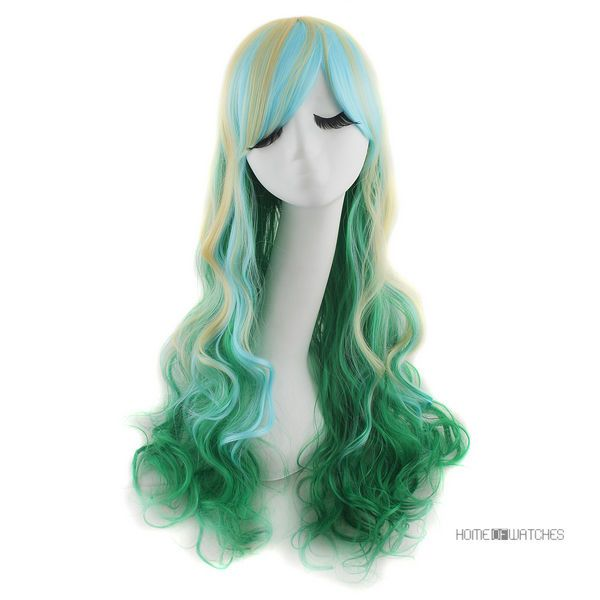 mixed hair styles harajuku mix light blue green curly 9963