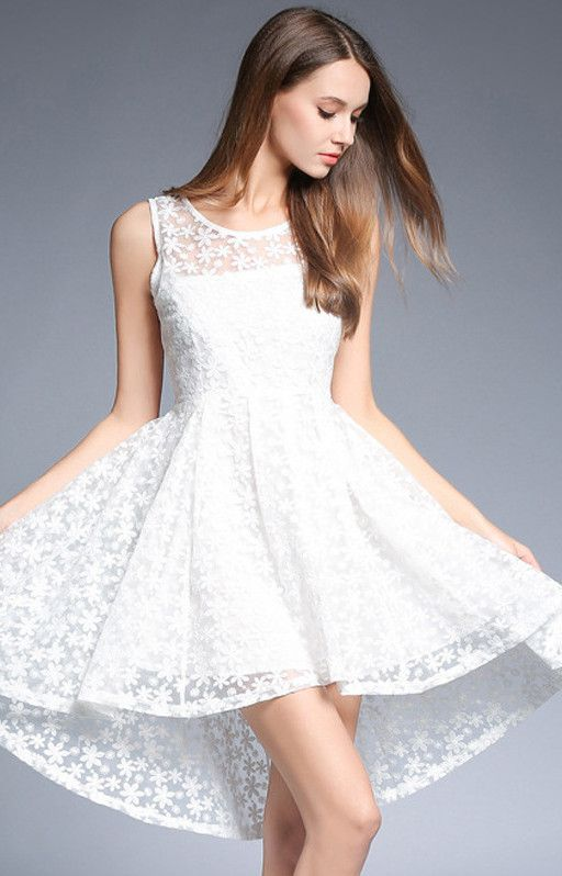 White Embroidered High Low Dress