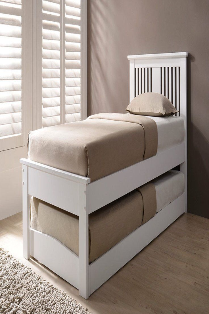 199 99 Gbp 2 In 1 Solid Wooden Single Bed Inc Pull Out Guest Bed Trundle White Oak Finish Solid Wooden S