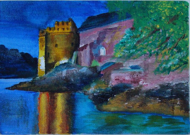 Dartmouth Castle in acrylics