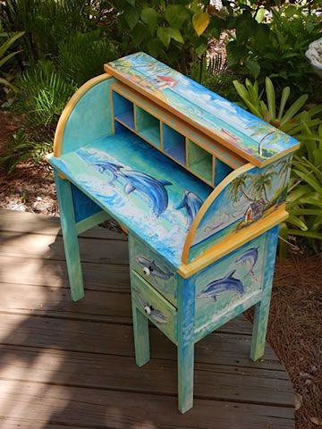 Painted Furniture: dolphin desk