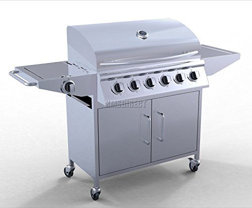 MASCARELLO® 6 Burner BBQ Gas Grill Stainless Steel Barbecue   1 Side Silver Outdoor Portable