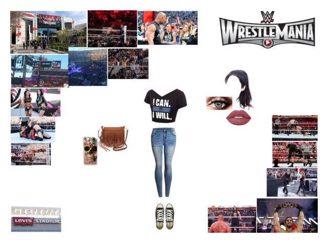 """Flashback: WrestleMania 31"" by caramara3 ❤ liked on Polyvore featuring WWE, Champion, Levi's, Converse, Rebecca Minkoff and Lime Crime"