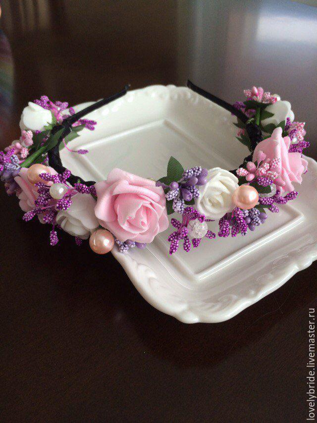 Купить ободок из цветов - розовый, ободок из цветов, ободки для волос, свадебный ободок, ободок для фотосессии