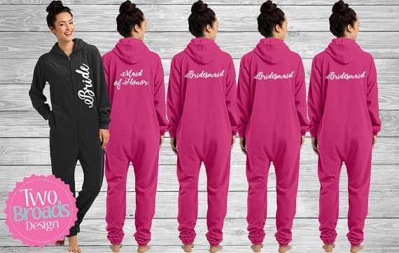 Bridesmaid Footie pajamas Bride Pajamas adult by TwoBroadsApparel