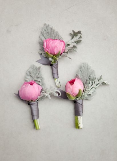 Boutonnières: but with a white or coral flower: Grey Wedding, Inspiration, Pink Boutonniere, Wedding Ideas, Pink Weddings, Wedding Flowers, Miller Boutonniere, Dusty Miller